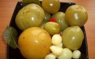 Рецепт малосольных зеленых помидоров в кастрюле
